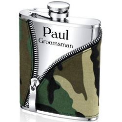 Personalized Camo Zipper Flask