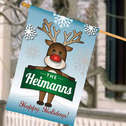 Personalized Reindeer Welcome House Flag