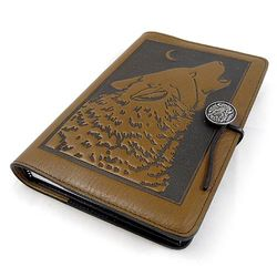 Howling Wolf Embossed Leather Journal