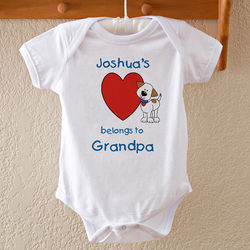 My Heart Belongs to Personalized Puppy Baby Bodysuit