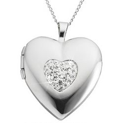 Engraved Silver and Crystal Heart Valentine Locket