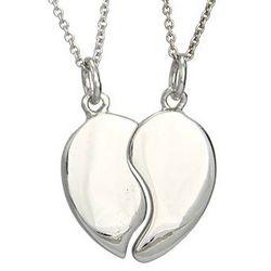Engravable Couples Split Heart Sterling Silver Pendant