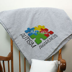 Autism Awareness Personalized Fleece Throw Blanket
