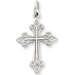 14K White Gold Fleur-De-Lis Cross Pendant