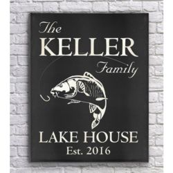 Family's Personalized Lake House Carp Art Print in Black Charcoal