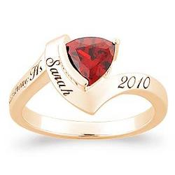 Trillion Birthstone Class Ring