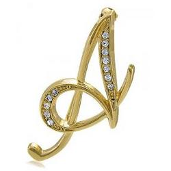Gold Tone Initial Letter Brooch Pin