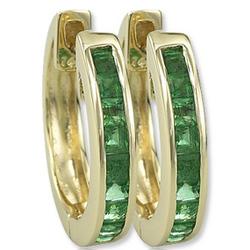 14k Yellow Gold Emerald Huggie Earrings