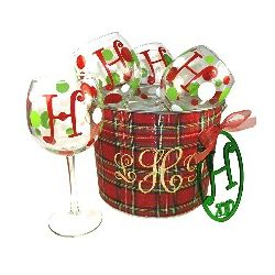 Monogrammed Holiday Wine Glasses & Ornament