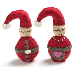 Felted Wool Round Mr. And Mrs. Claus Decoration