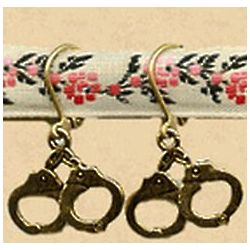 Antiqued Brass and Pewter Handcuff Earrings