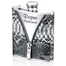 Personalized Faux Snakeskin Zipper Flask