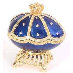 Majestic Royal Blue Musical Egg Trinket Box