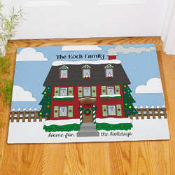 Personalized Home for the Holidays Doormat