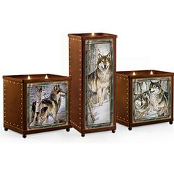 Sentinels Of The Forest Wolf Art Candleholder Set