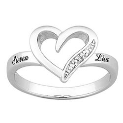Personalized Platinum Plated Diamond Heart Name Ring