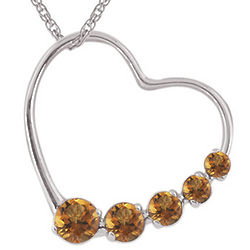 Round Citrine Heart Journey Pendant in 14K White Gold