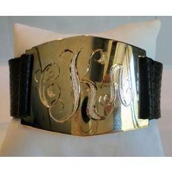 Elegant Gold-Plated Monogrammed Cuff Bracelet