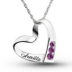 Engraved Sterling Silver Name and Birthstone Necklace