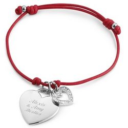 Engraved Heart Red Friendship Bracelet