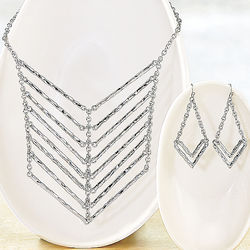 Chevron Necklace and Earring Set