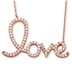 Rose Gold-Plated Love Script Necklace