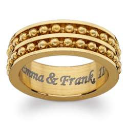 Engraved Gold Stainless Steel Ball Bead Spinner Band