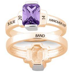 Women's Gold-Plated Emerald-Cut Stone Class Ring