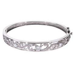 Vintage Cubic Zirconia Sterling Silver Bangle