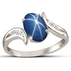 Sky Gazer Created Star Sapphire and White Topaz Ring