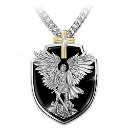 Strength of St. Michael Dog Tag Pendant Necklace for Son