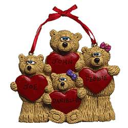 Personalized Teddy Bear Four Friends Heart Ornament