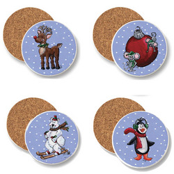 Festive Winter Children's Coasters