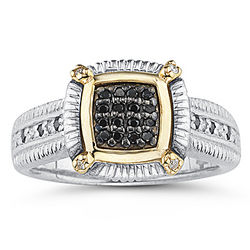 Black and White Diamond Men's Ring in Yellow Gold & Silver