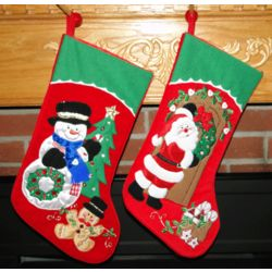 Wreath Velvet Snowman and Santa Personalized Stocking