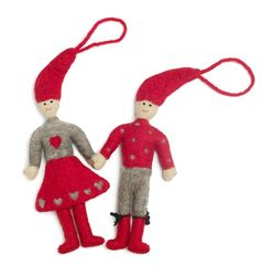 Felted Wool Pixie Girl and Boy Ornament Set