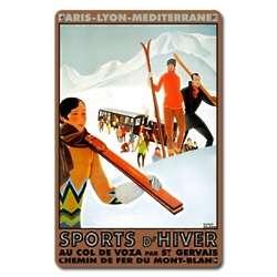 Sports d'Hiver Au Col de Voza Metal Ski Sign