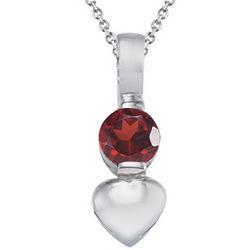 Garnet Heart Pendant in Silver
