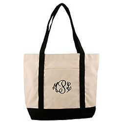 Personalized Black Handle Canvas Boat Tote