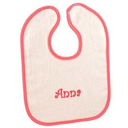 White and Fuchsia Personalized Bright Baby Bib
