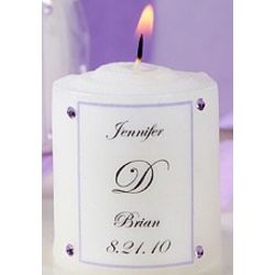 Personalized Candle Favor with Swarovski Crystals
