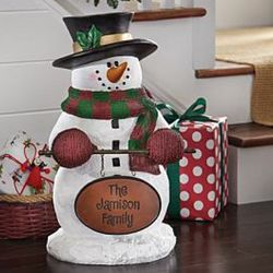 Personalized Snowman Welcome Statue