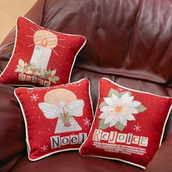 Peace, Rejoice and Noel Christmas Collage Pillows