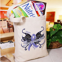 Personalized Cancer Survivor Butterfly Tote Bag