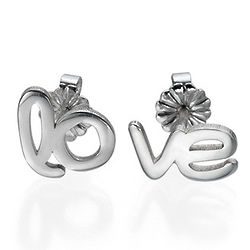 Hope and Love Sterling Silver Stud Earrings