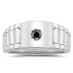 Men's Black Diamond Rolex Ring in Silver