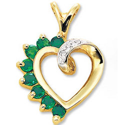 14K Yellow Gold Emerald and Diamond Heart Pendant