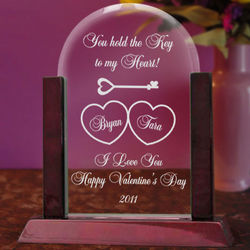 Personalized Key To My Heart Glass Arch Keepsake with Wooden Base