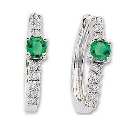 14K White Gold Emerald 1/3 Ct Diamond Huggie Earrings