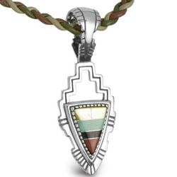 Inlay Silver Pendant and Leather Braided Cord